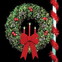 """5' Traditional Tri-Candle Royal Pine Wreath with two 24"""" Red Imperial Bows"""