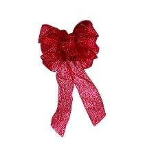 """Traditional Bow, 6 Loops, Center Loop, and 2-12"""" Tails, in 2.5"""" Ribbon - Red Glittered Sheer"""