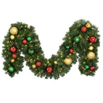 """Decorated 9' x 14"""" Garland Lit, Colors of the Holiday"""