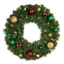 """24"""" Lit LED Warm White Decorated Wreath - Colors of the Holidays - Bow Option Available"""