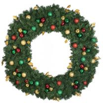 """60"""" Lit LED Warm White Decorated Wreath - Traditional Décor - Bow Option Available"""