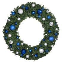 """72"""" Lit LED Warm White Decorated Wreath - Blue and Silver Décor - Bow Option Available"""