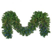 """9' x14"""" Deluxe Oregon Fir Garland, Lit with Twinkly Pro RGBW"""