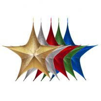 """Foldable 3D Star - 16"""" - Metallic - 5 Colors Available"""
