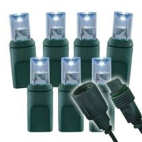 """Twinkle Wide Angle Conical - 4"""" Spacing, 70 bulb, grn cord, UL Coaxial RY Plug - Pure White"""
