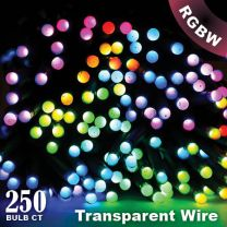 """Twinkly Pro - RGBW Capsule - 250 Lights - 4"""" Spacing - Transparent Wire - Single Line"""