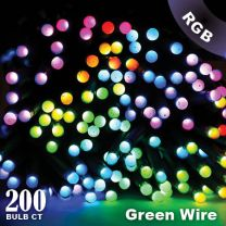 """Twinkly Pro - RGB Capsule - 200 Lights - 4"""" Spacing - Green Wire - Single Line"""