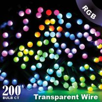 """Twinkly Pro - RGB Capsule - 200 Lights - 4"""" Spacing - Transparent Wire - Single Line"""
