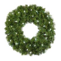"""24"""" Lit Pure White Deluxe Oregon Fir Wreath - Bow Option Available"""