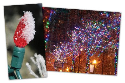 C6 Bulb covered in snow. Colorful lights